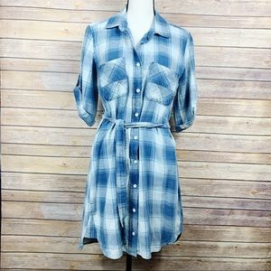 Cloth & Stone Plaid Belted Tunic Dress